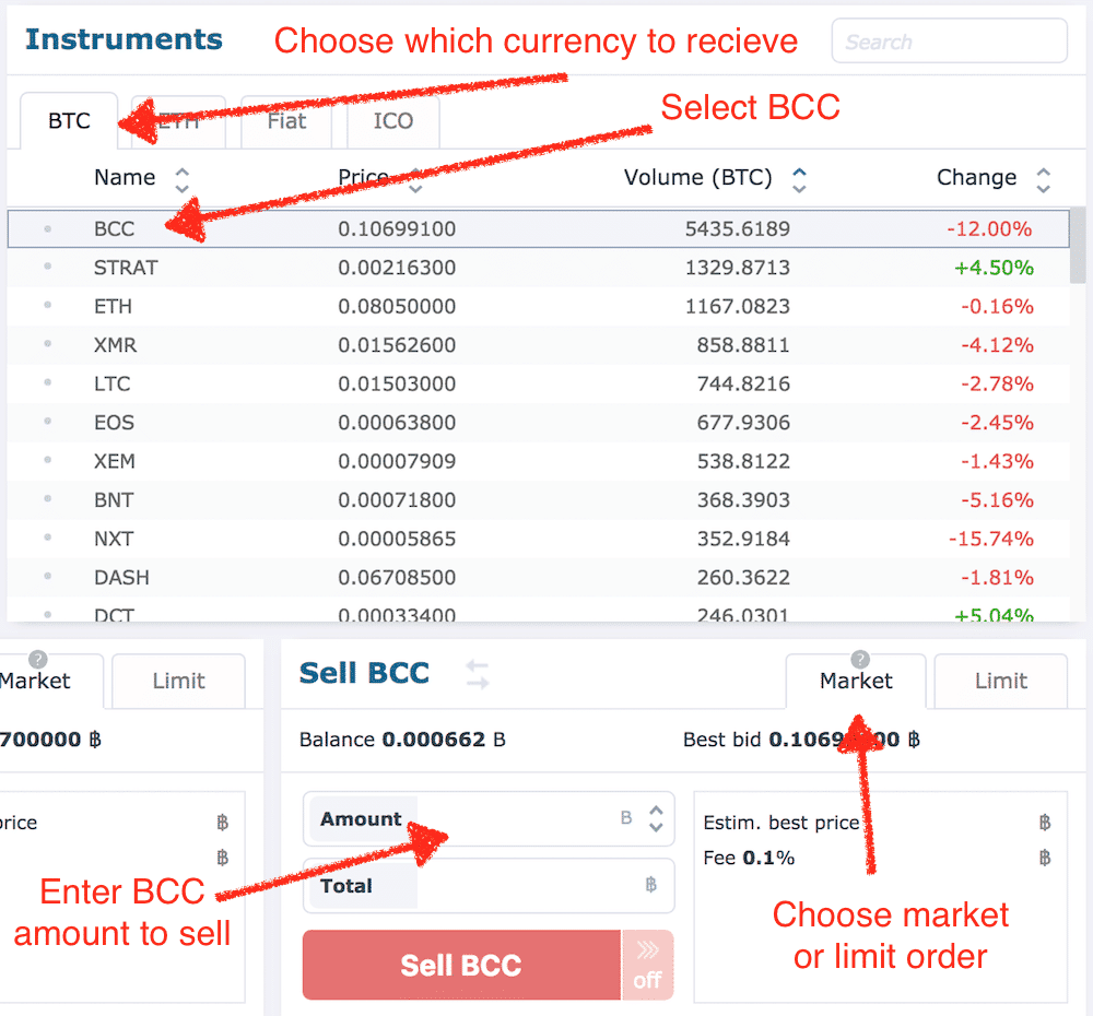 Sell BCC on HitBTC