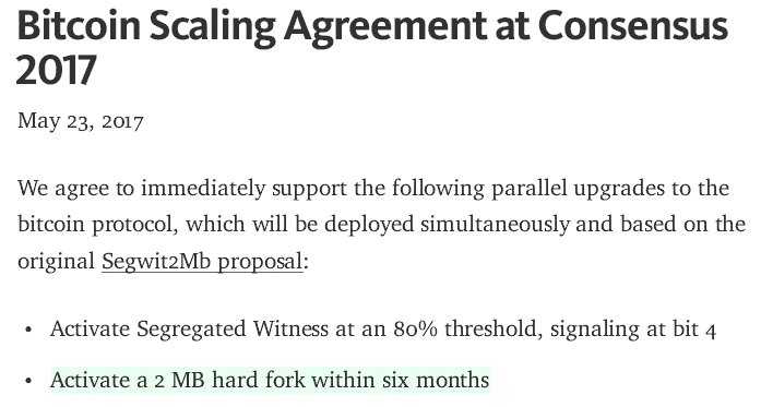 Support for Segwit2x, the New York Agreement, and the Upcoming