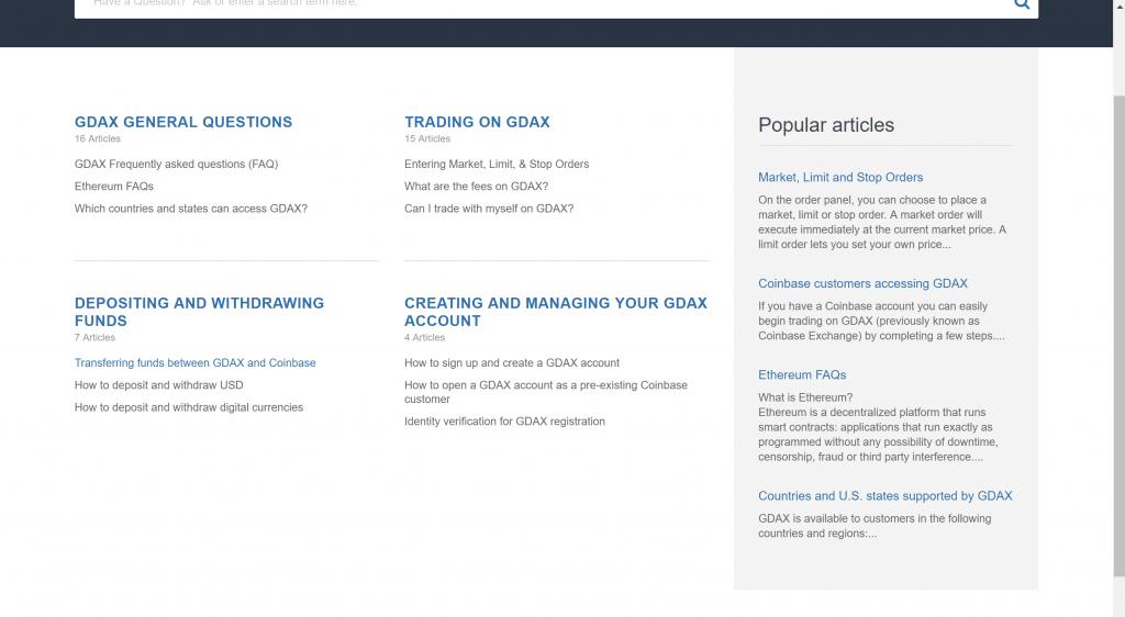 GDAX knowledge base
