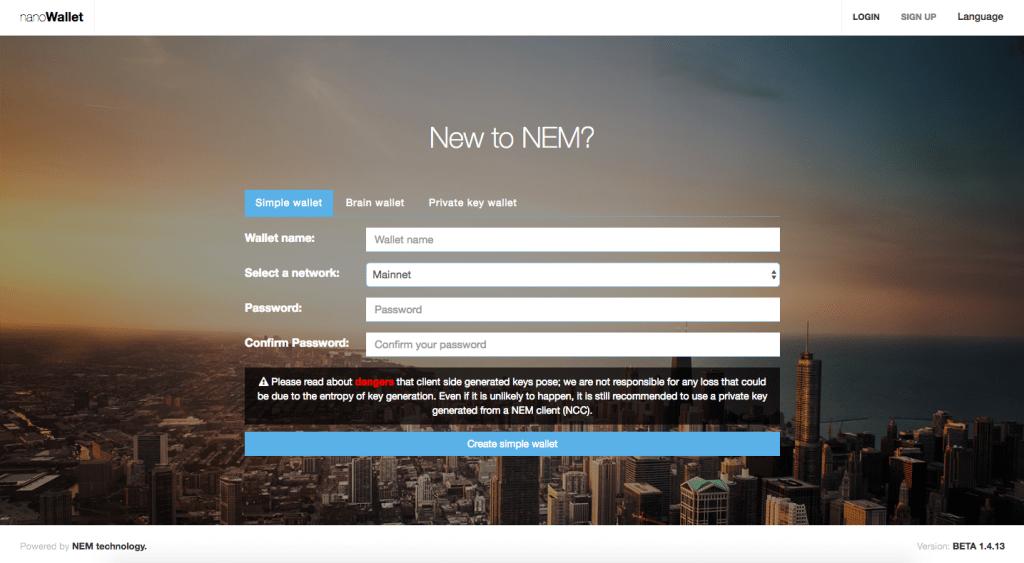 NEM Nano Wallet Signup Page