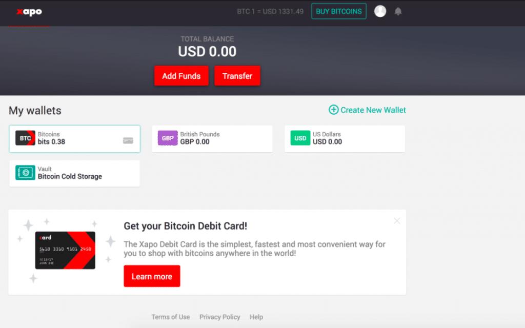 Xapo web wallet