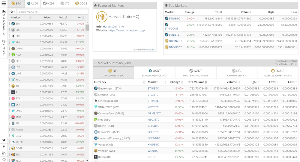 Cryptopia currency pairs