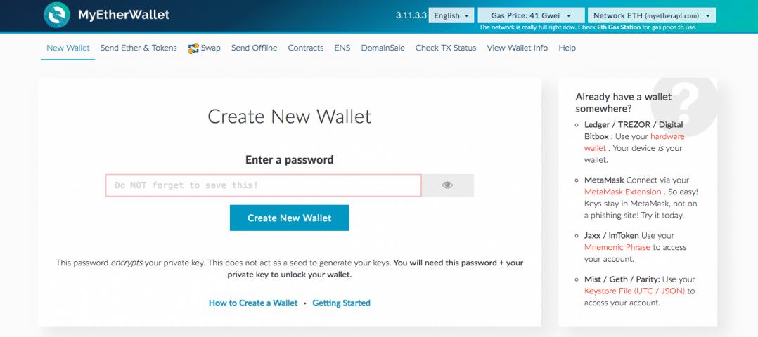 MyEtherWallet Create Wallet