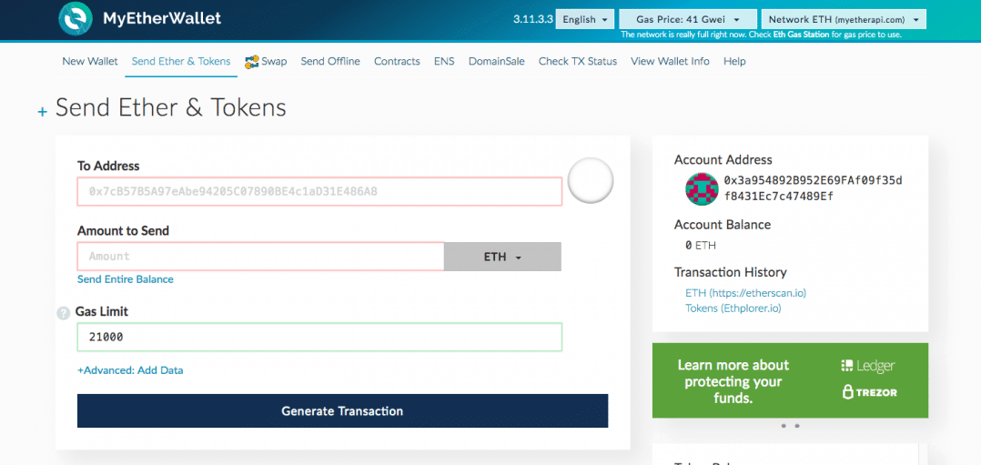 MyEtherWallet Transaction Page