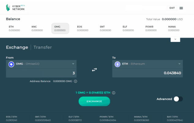 Kyber Network Interface