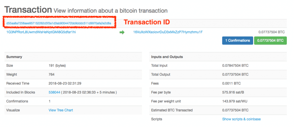tx id  - Screen Shot 2018 08 23 at 5 - Bitcoin Fees Explained – How to Calculate and Solve Pending Transactions