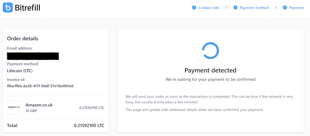 payment detected