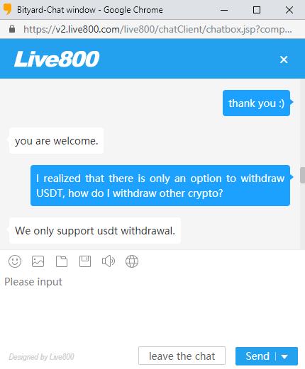 Bityard Chatbox Customer Help