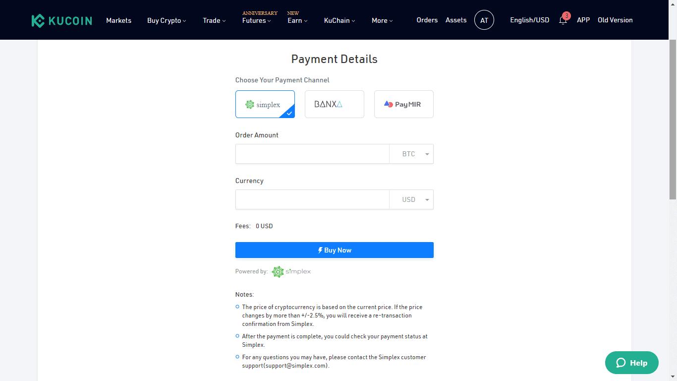 KuCoin Credit Card Buy