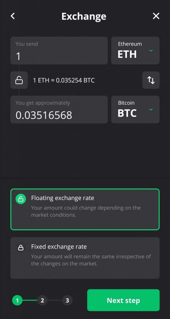 Changelly swap screen