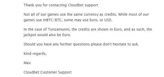 CloudBet customer support