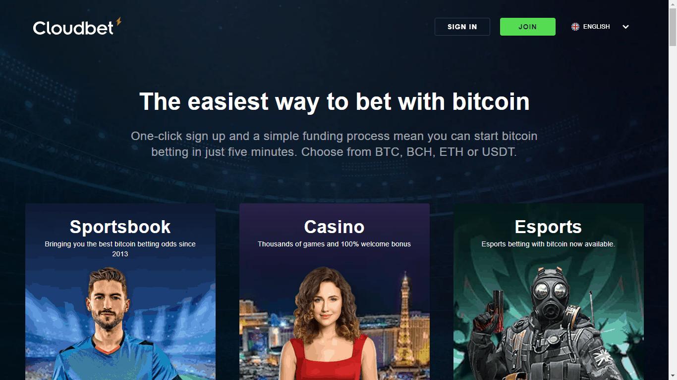 CloudBet homepage