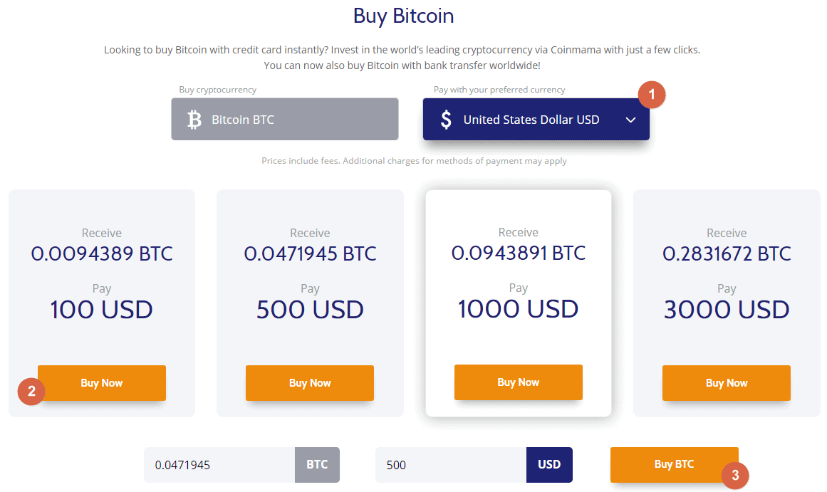 Coinmama by bitcoin with credit card packages